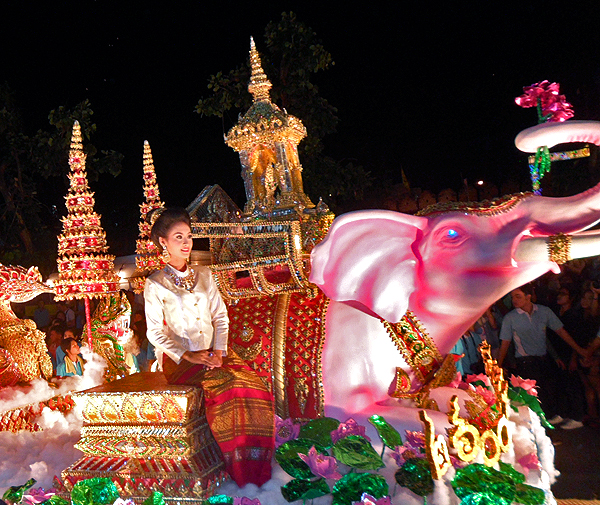 Pretty Thai Lady in Loy Krathong Parade