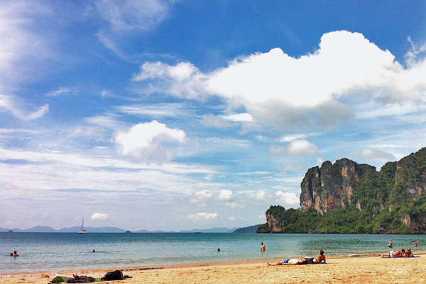 Sunny Beach with Karst Mountains on Railay, Thailand